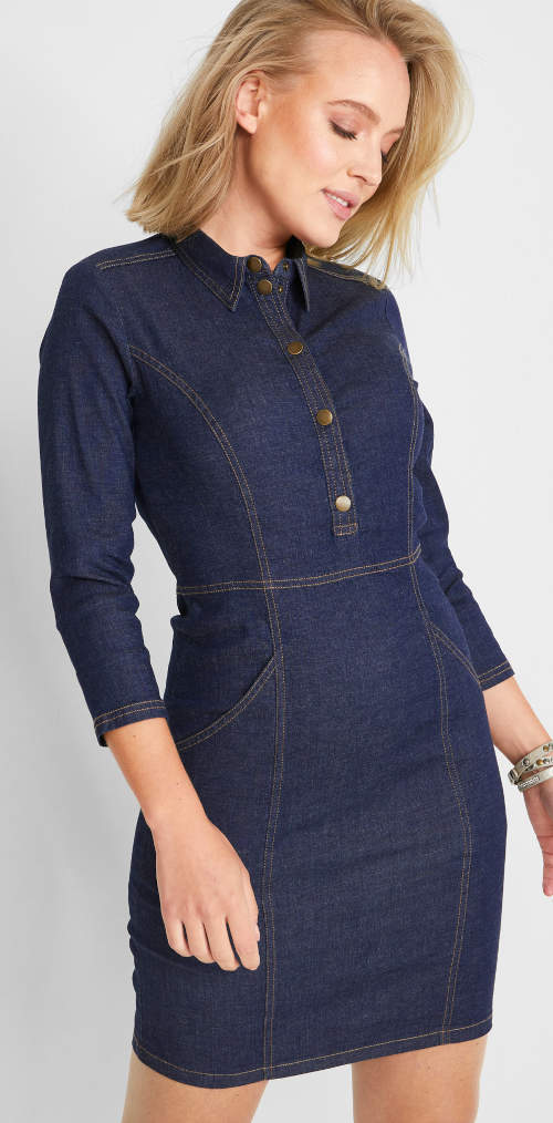 Košilové džínové dámské šaty s 3/4 rukávem