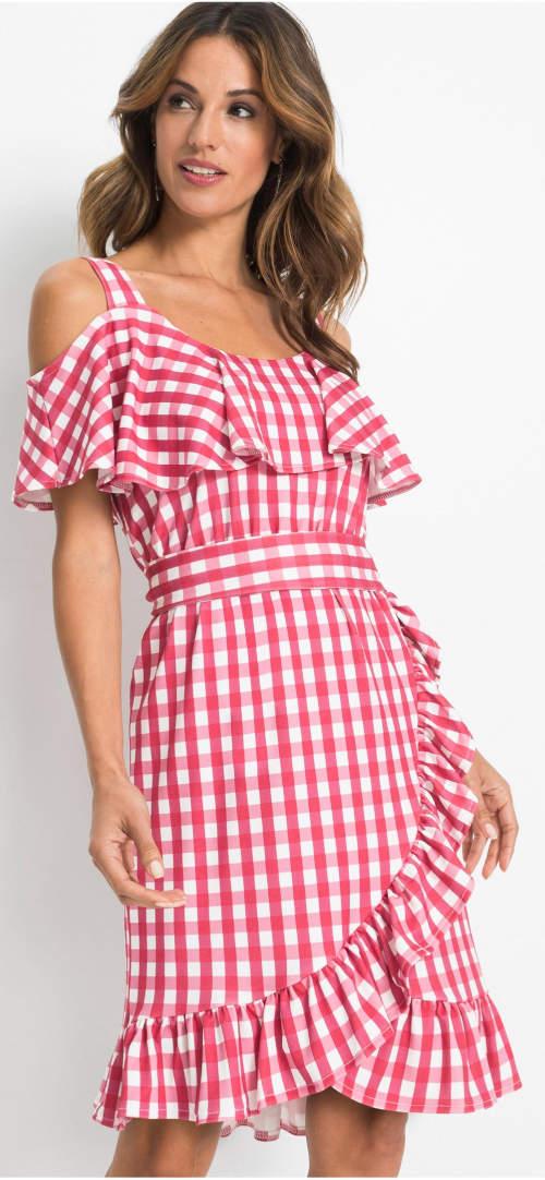 Kostkované zavinovací dámské šaty se spadlými rukávy