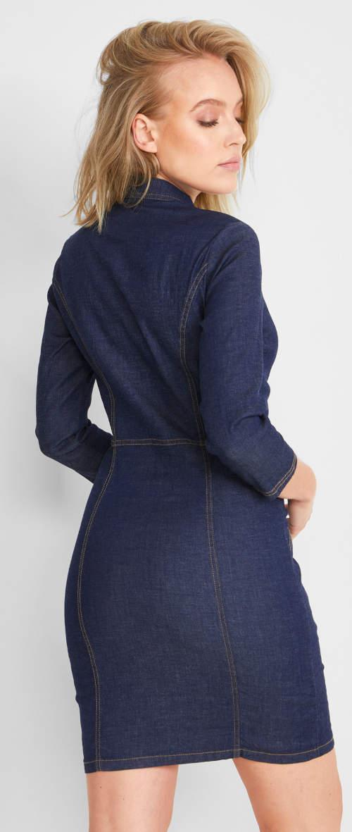 Krátké tmavě modré riflové dámské šaty