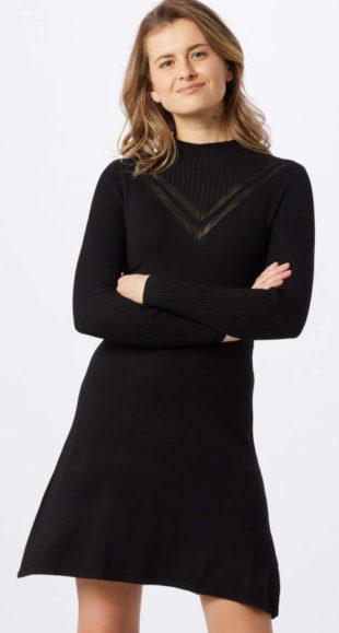 Levné černé úpletové dámské šaty s dlouhým rukávem