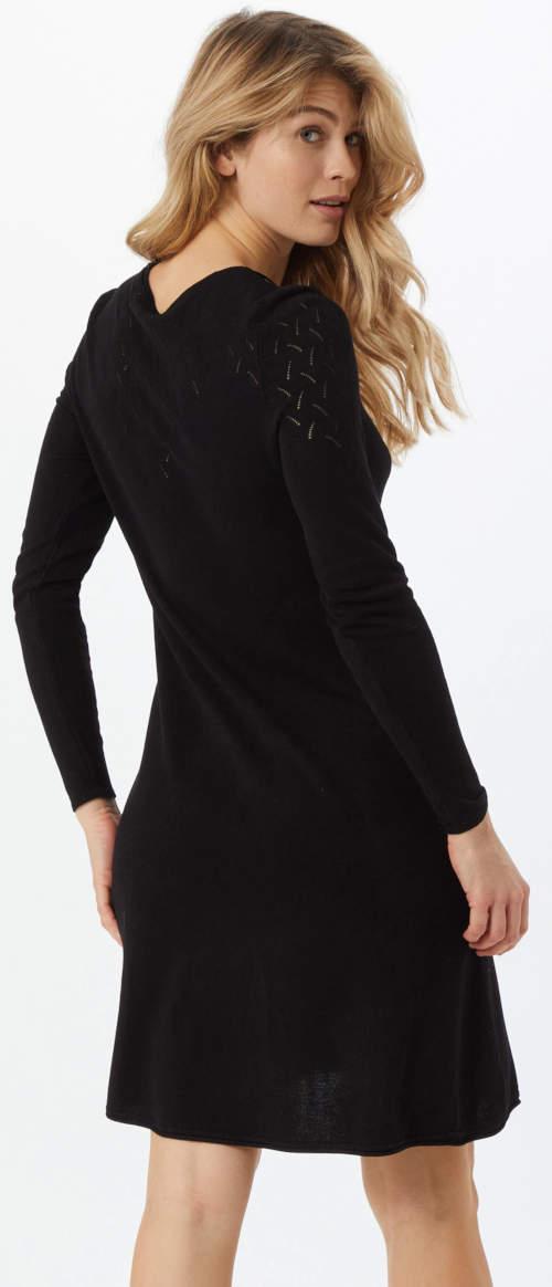 Levné černé úpletové dámské šaty s délkou ke kolenům