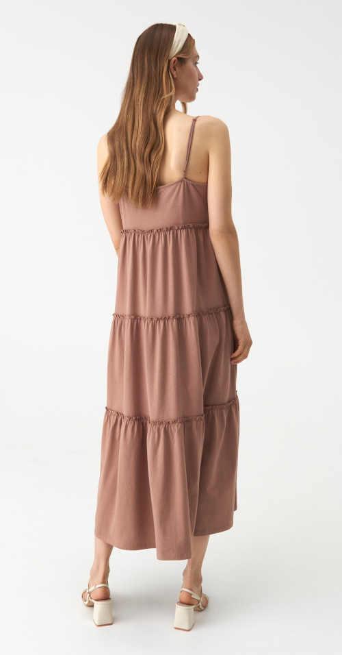 maxi šaty v béžové barvě
