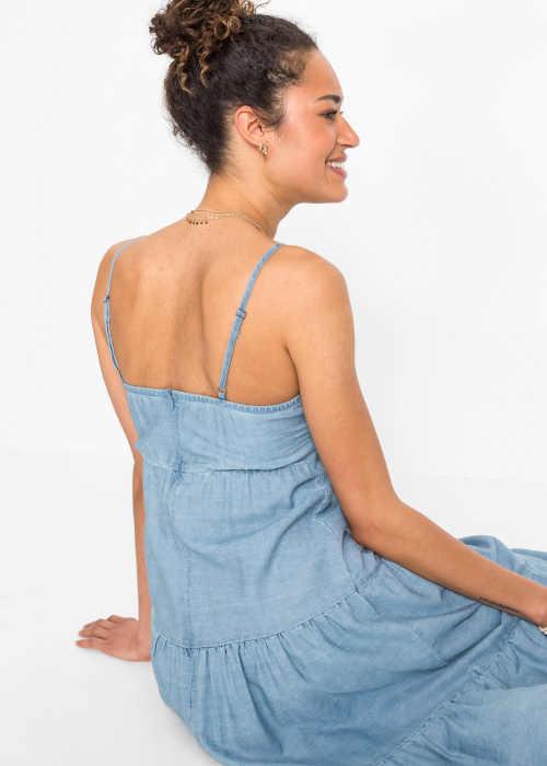 modré letní dlouhé šaty