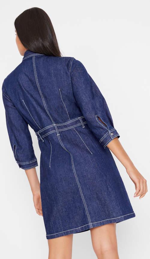 Riflové dámské šaty s rukávy tříčtvrteční délky