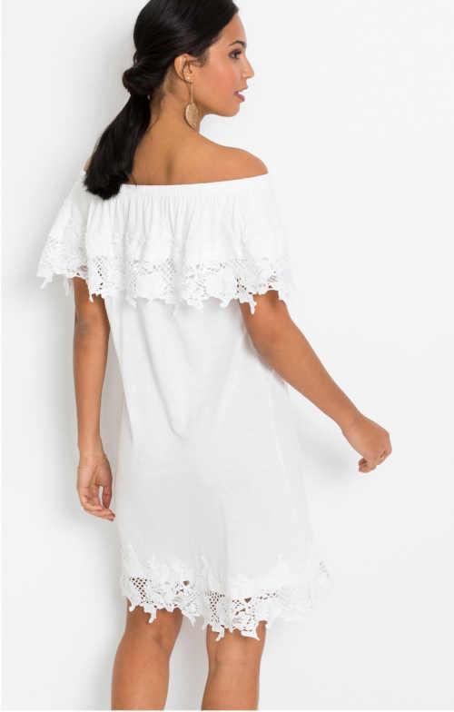 šaty carmen v bílé barvě