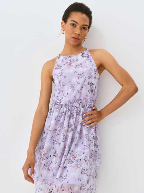 šaty s květinovým potiskem bez rukávů