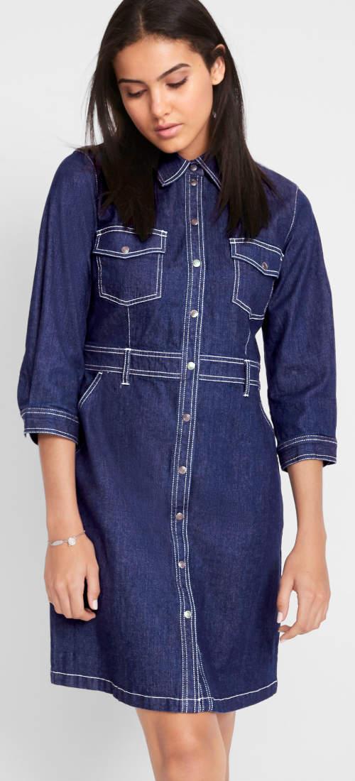 Strečové riflové košilové šaty s 3/4 rukávem