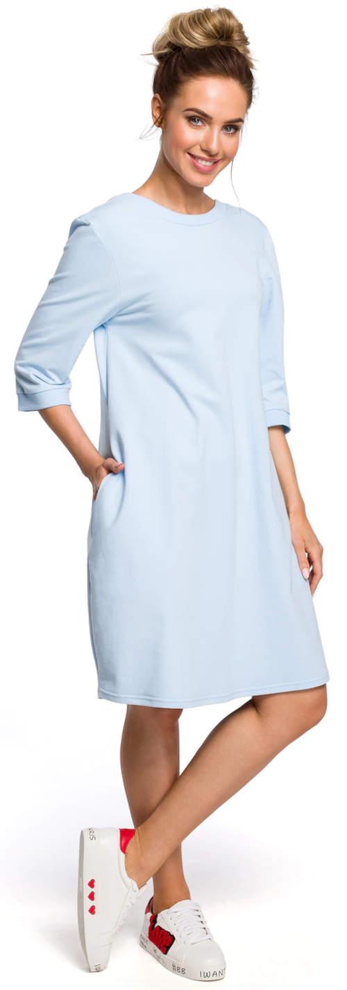 Světle modré sportovní letní šaty s tříčtvrtečním rukávem