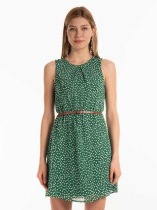 Atraktivní šaty v květovaném vzoru s řasením a páskem