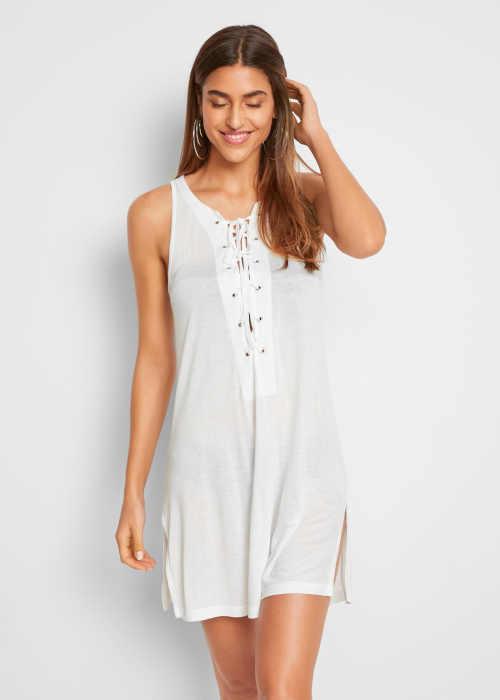 Dámské bílé plážové šaty s efektivním šněrováním vpředu
