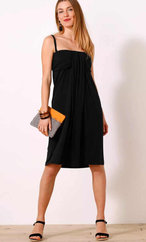 Jednobarevné šaty ke kolenům s odnímatelnými ramínky