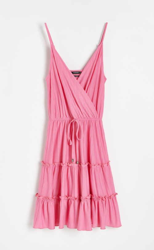 Letní šaty ke kolenům s překřížením vpředu zdobené volánky