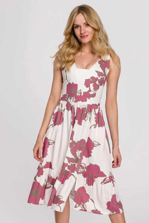 Smetanové květované midi šaty v moderním střihu