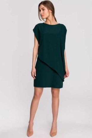Tmavě zelené šaty v asymetrickém efektivním střihu