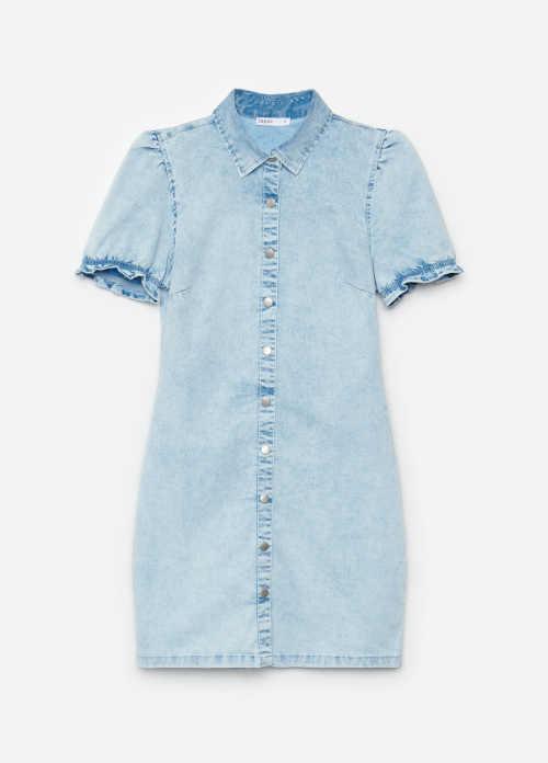 krátké denimové šaty se zapínáním vpředu