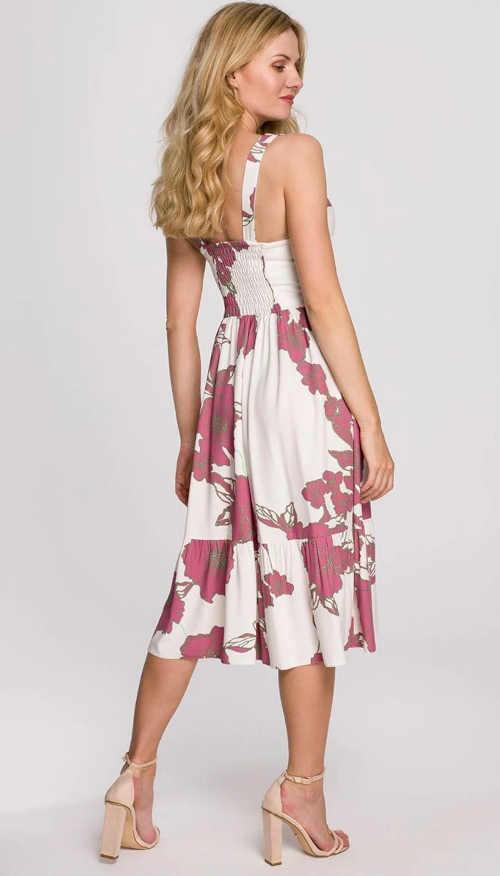 šaty v midi délce s květinovým vzorem