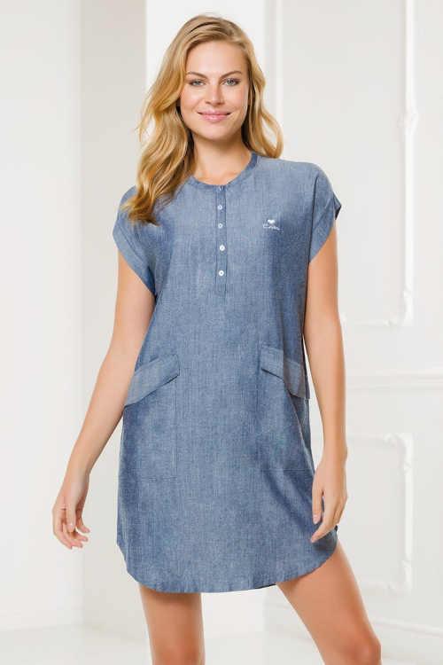 Dámské moderní volnočasové šaty v modrém provedení