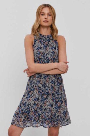Moderní květované šaty bez rukávů se stojáčkem u krku