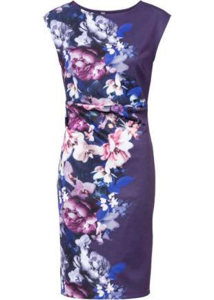 Pouzdrové šaty bez rukávů v moderním květovaném vzoru