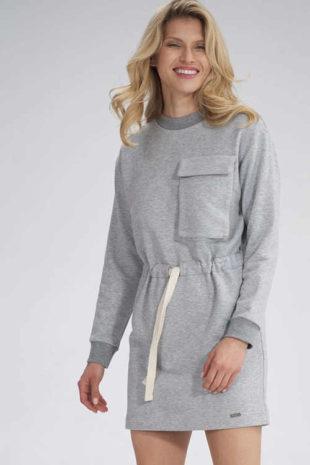 Šaty v krátké délce s dlouhým rukávem a na zavazování v pase