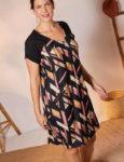 Vzorované šaty s výstřihem do V a zapínáním vpředu na zip