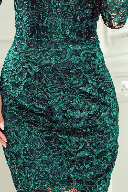 krajkové zelené šaty nad kolena