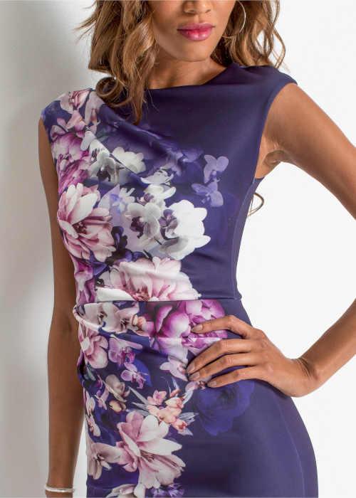 moderní květované pouzdrové šaty