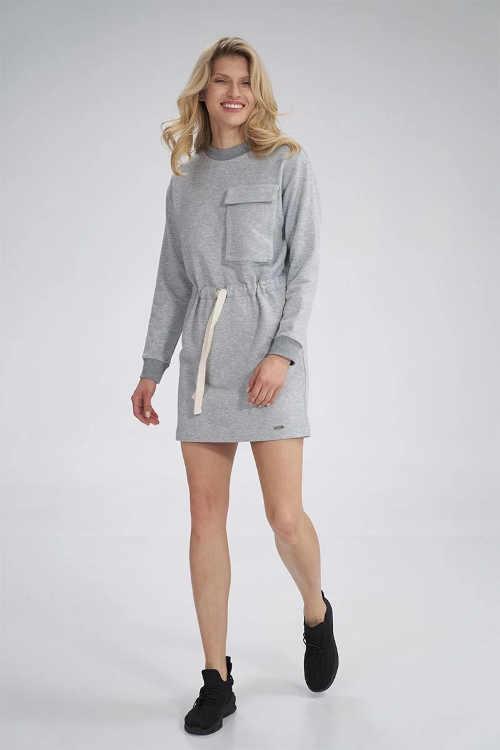 moderní světle šedé šaty s kapsou