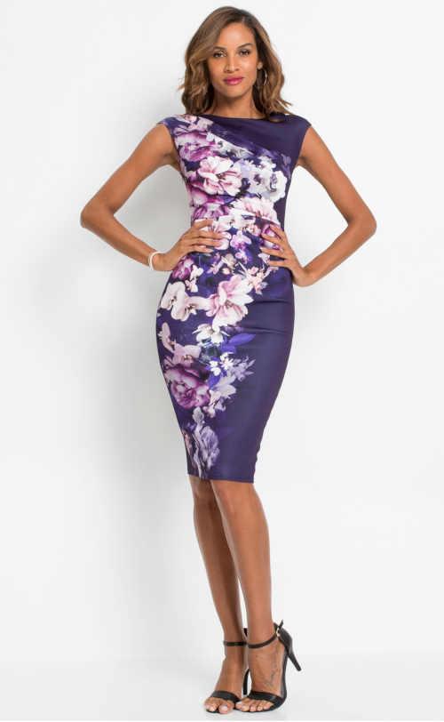 šaty pouzdrového střihu ve fialové barvě
