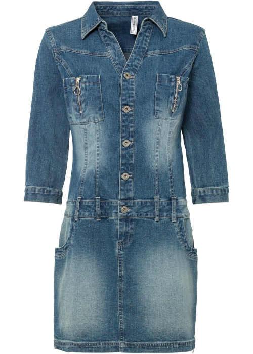 Moderní mini džínové šaty se sníženým pasem a 3/4 rukávy