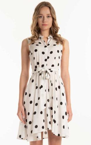 Moderní puntíkované šaty v černo-bílém provedení