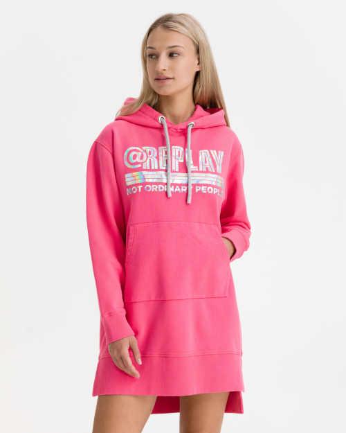 Šaty Replay z kvalitní bavlny s kapucí a klokaní kapsou vpředu