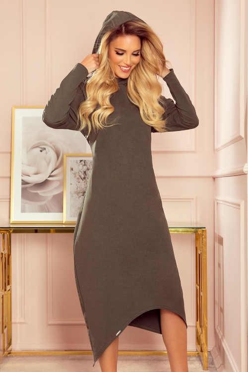 Šaty s kapucí v moderní midi délce z příjemného materiálu