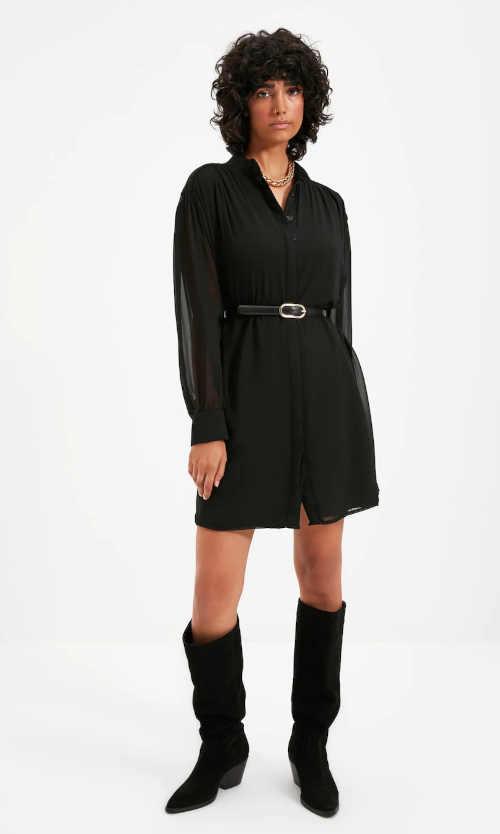 dámské šaty černé s dlouhým rukávem
