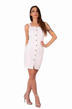 Bílé šaty v krátké délce na ramínka a knoflíkovou légu
