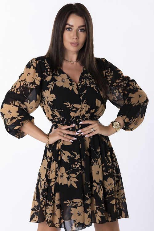 Černé květované šaty s výstřihem do V a dlouhým rukávem