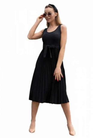Černé šaty bez rukávů s plisovanou sukní a páskem