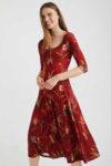 Červené midi šaty Desigual s květinovým potiskem