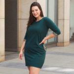 Dámské krátké tmavě zelené šaty v konfekci size plus
