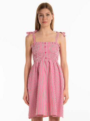 Kostkované krátké šaty se zavazováním na ramínkách
