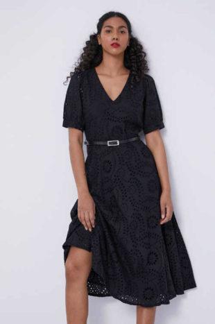 Luxusní černé dámské šaty s krátkým rukávem a podšívkou