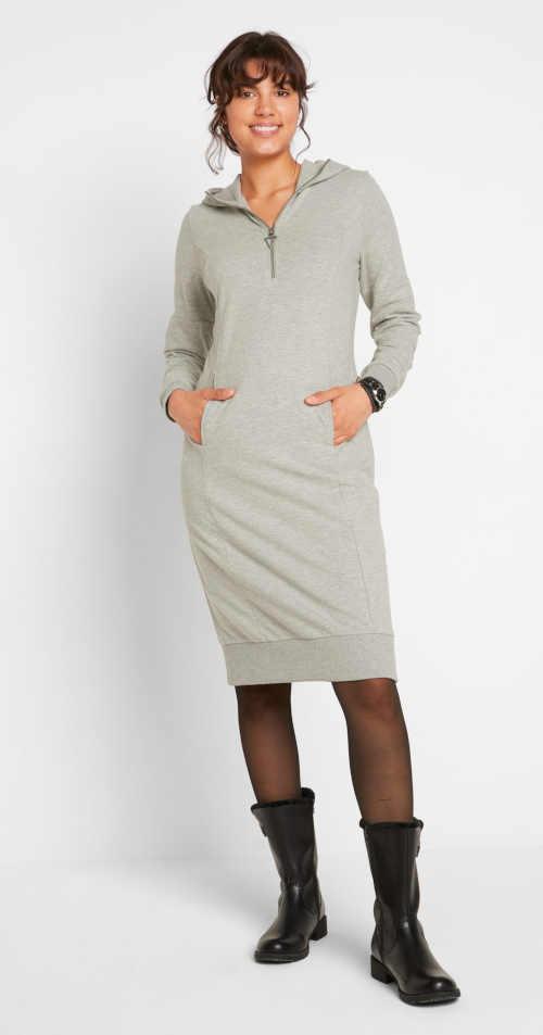 Luxusní dámské mikinové šaty s kapucí v šedém melíru