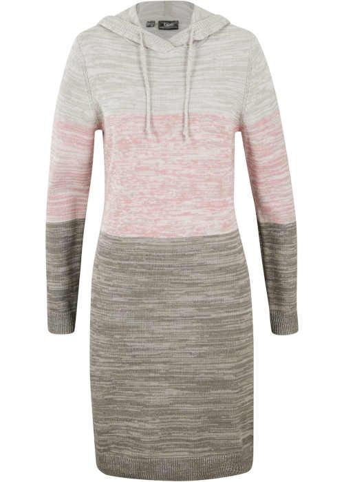 Moderní pletené šaty s kapucí a dlouhým rukávem