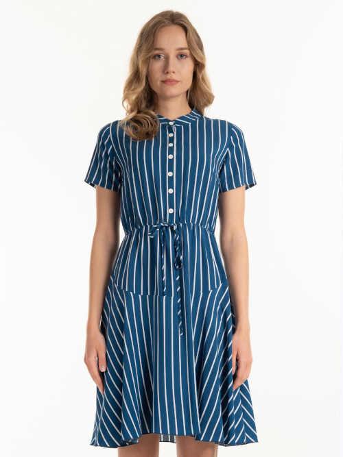 Proužkované šaty nad kolena ke krku s krátkým rukávem