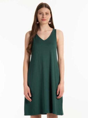 Trendy dámské šaty volnějšího střihu s výstřihem do V