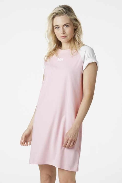 Volné bavlněné tričkové šaty v růžovo-bílém provedení