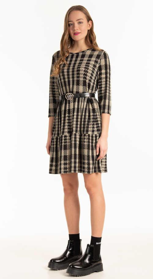 kostkované dámské moderní šaty