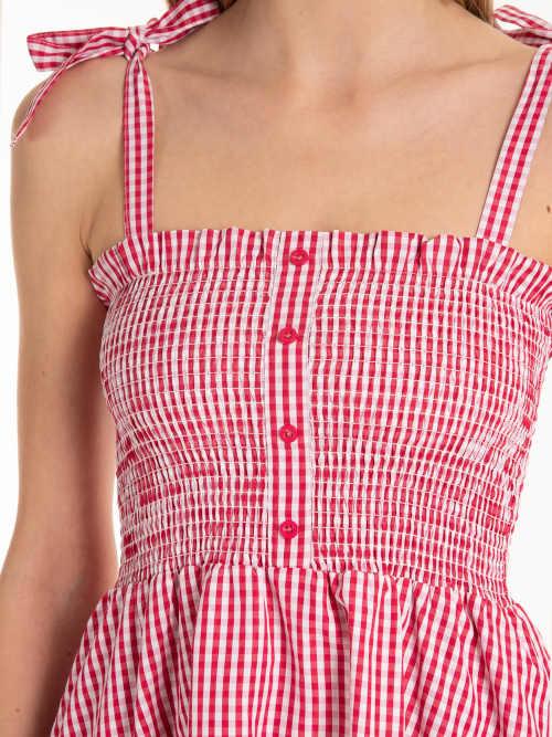 kostkované šaty na knoflíky