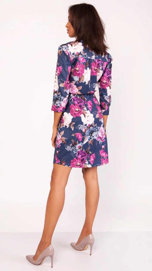 květované šaty v pase na zavázání