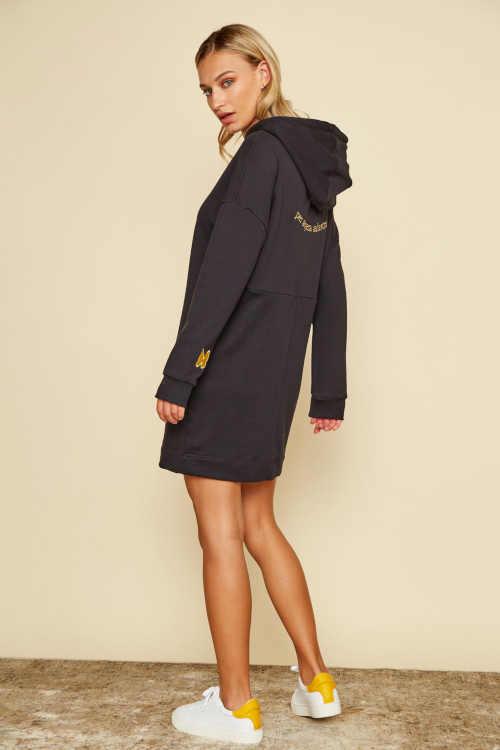 mikinové šaty s dlouhým rukávem